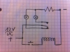 12V Relais Schaltung mit 2 LEDs